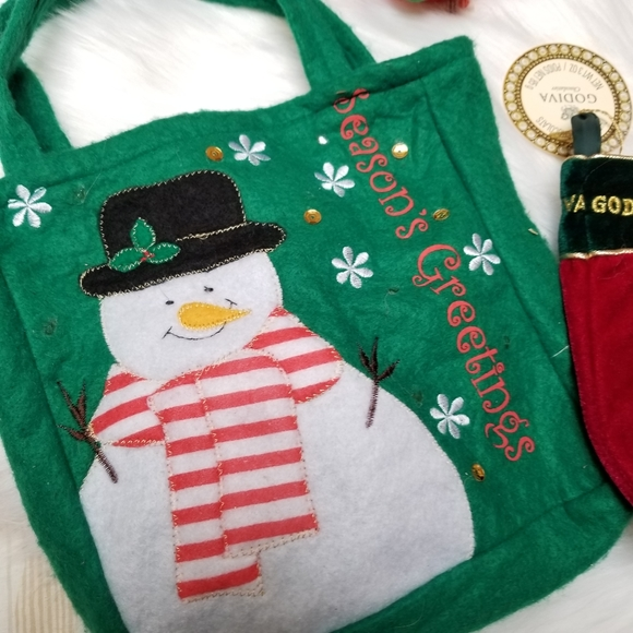 VINTAGE festive holiday bag of decor and ornaments